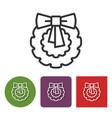 line icon of christmas wreath vector image