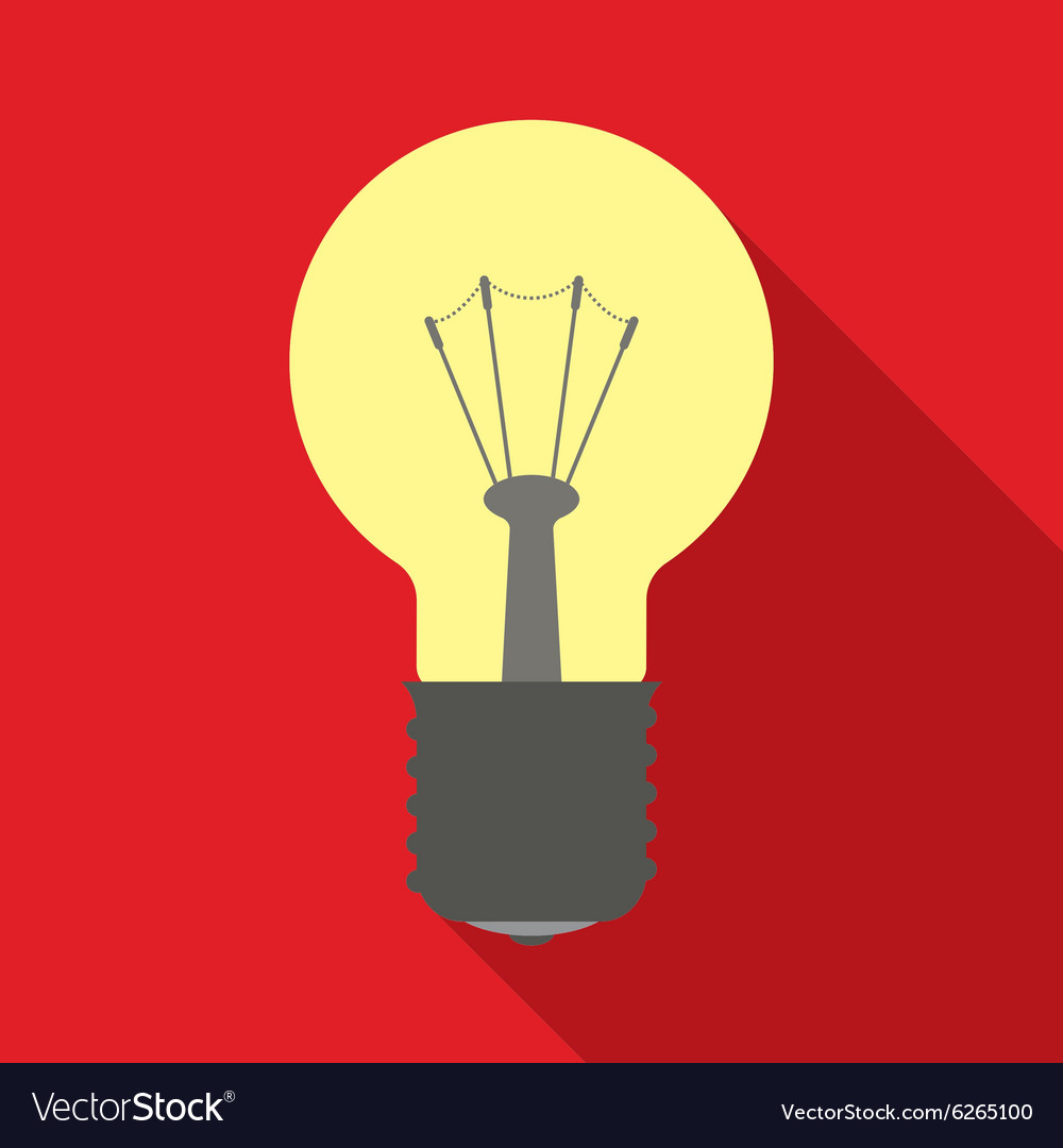Light bulb in flat style with long shadows vector
