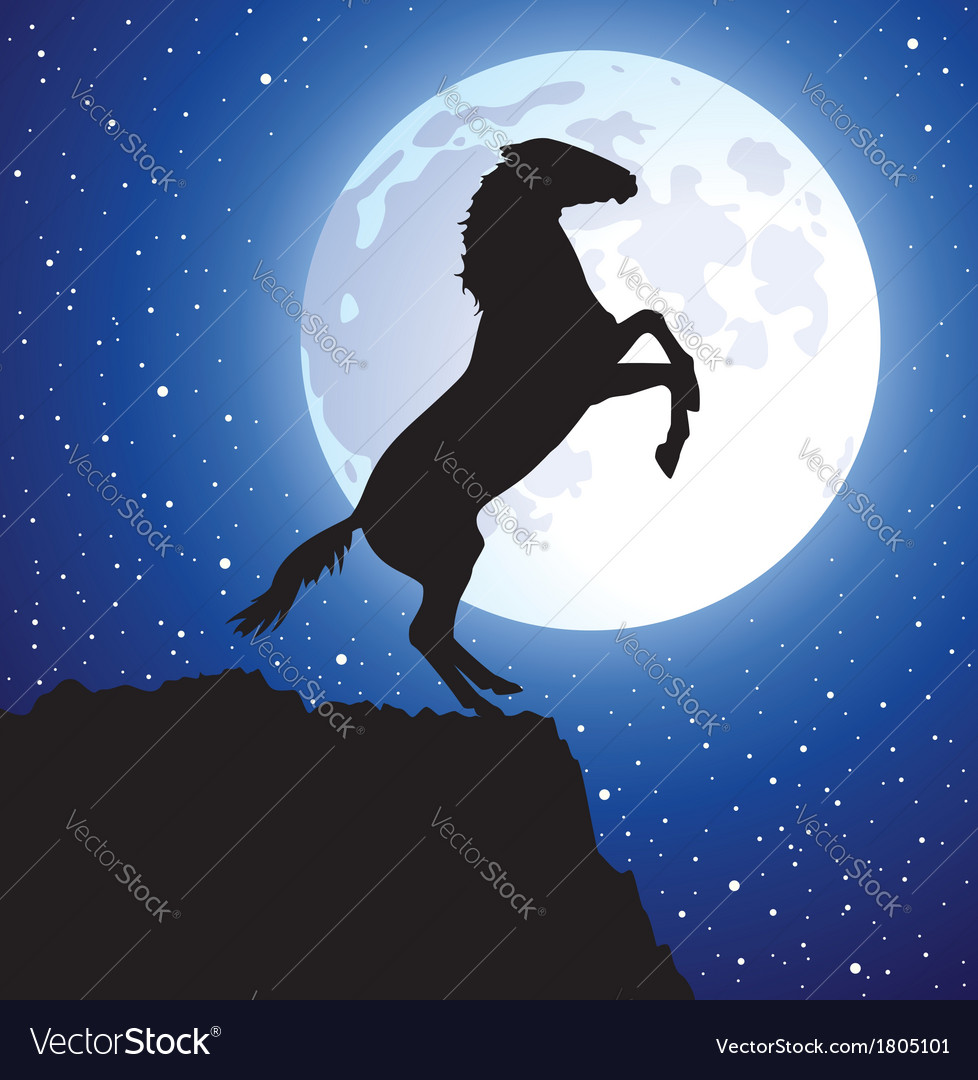 A horse on top of the mountain vector