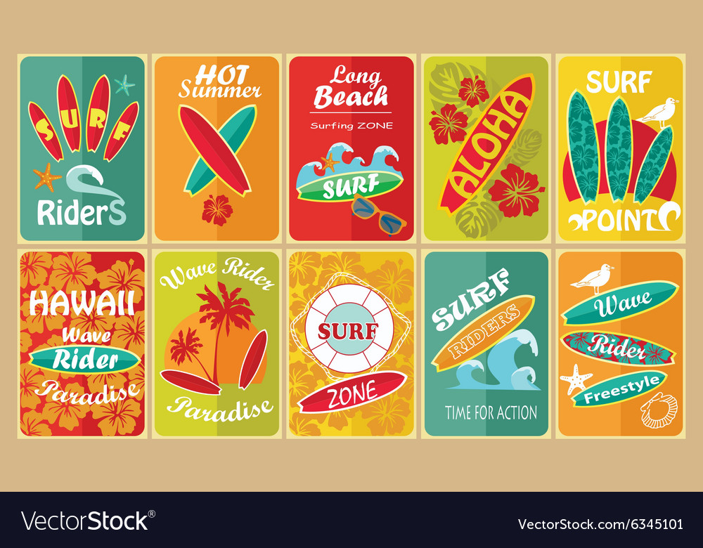 Set of retro surfing typographical posters for vector