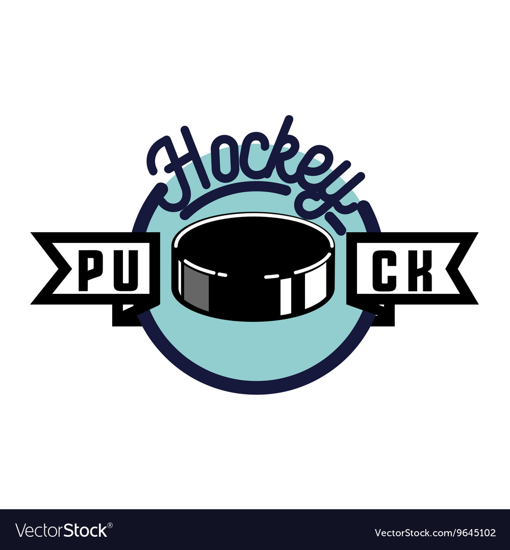 Color vintage hockey emblem vector