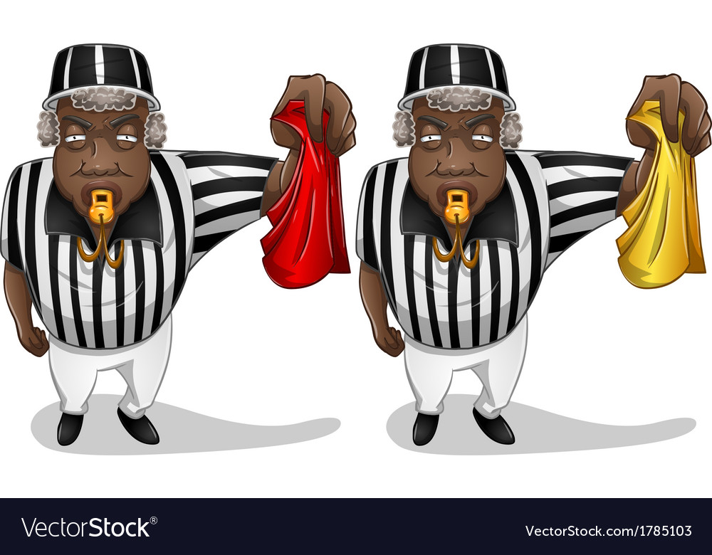 Football referee with flag and whistle vector