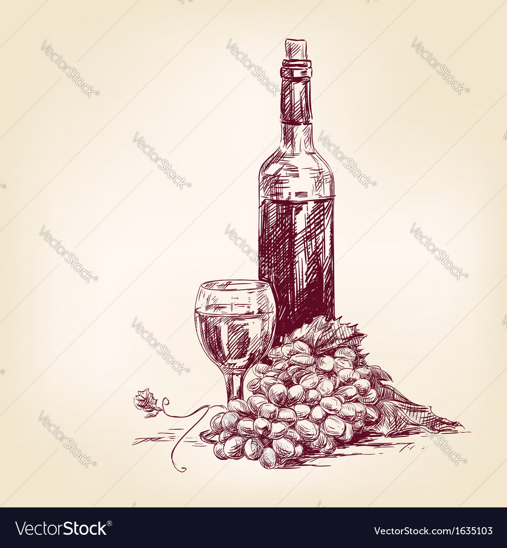Grapes with a bottle of wine and glass vector