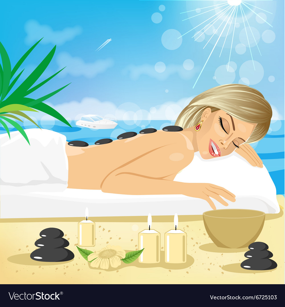 Woman getting hot stones treatment vector