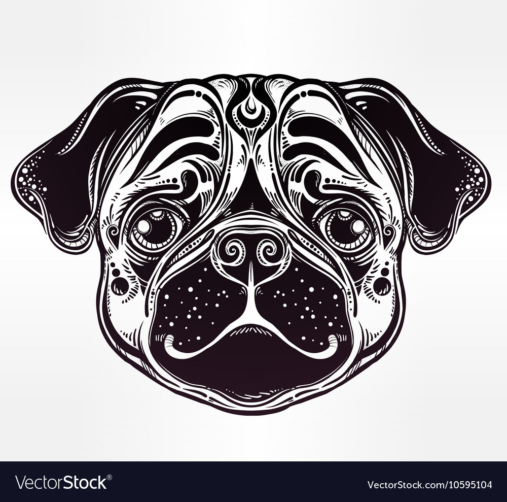 Linear style of a pug dog face vector