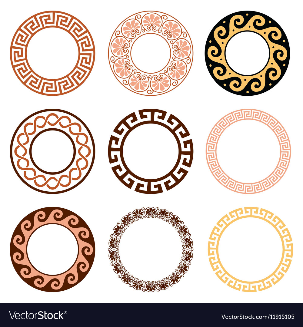Ancient greek round pattern  set vector