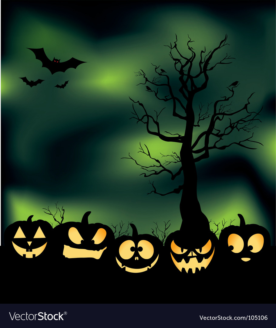 Cloudy pumpkin patch vector