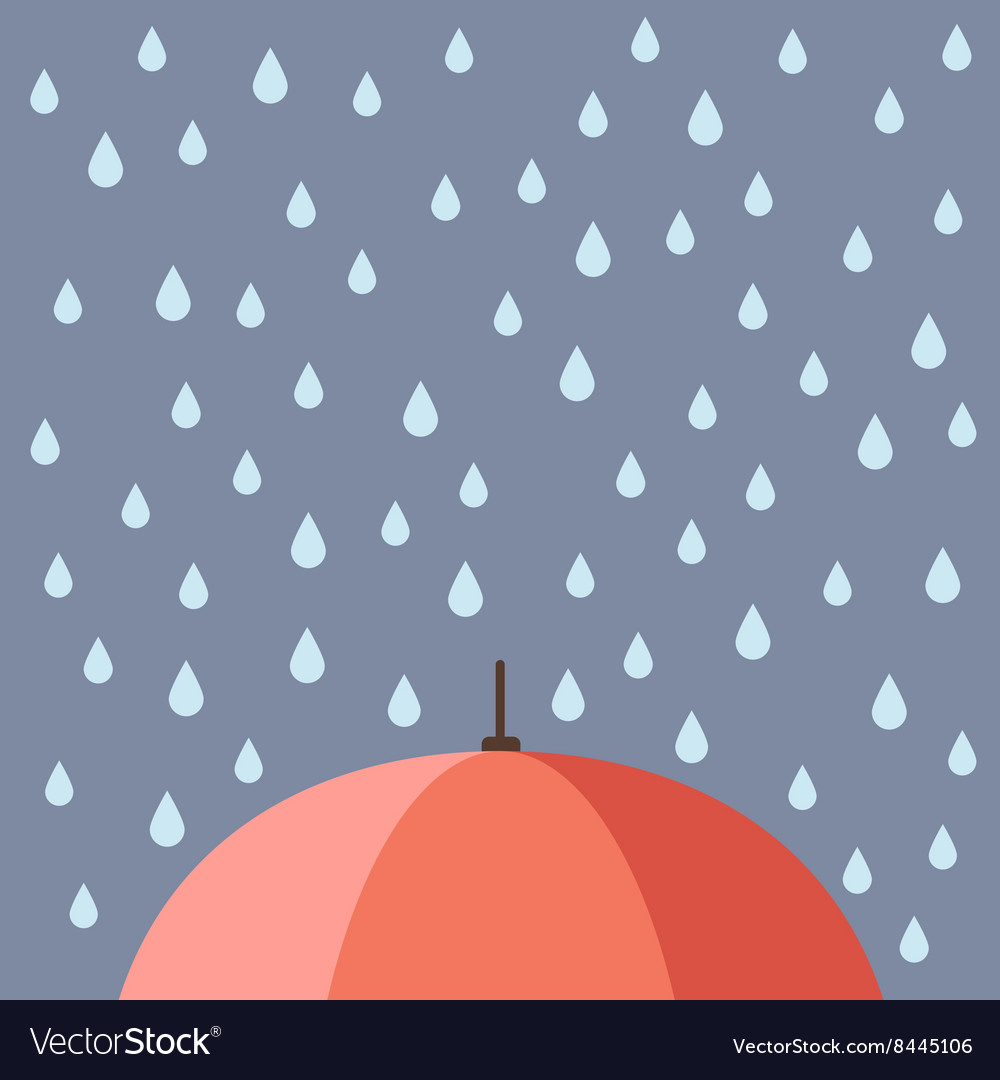 Rain drops with umbrella vector