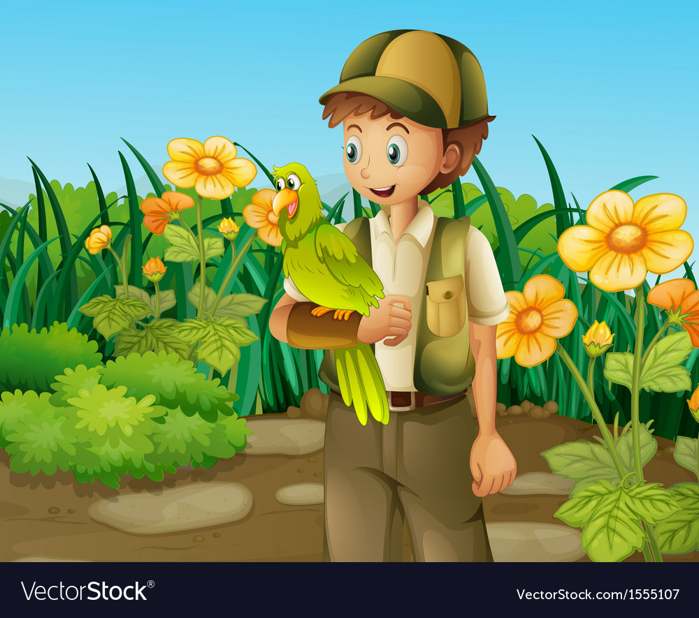A man with a green parrot near the flowers vector