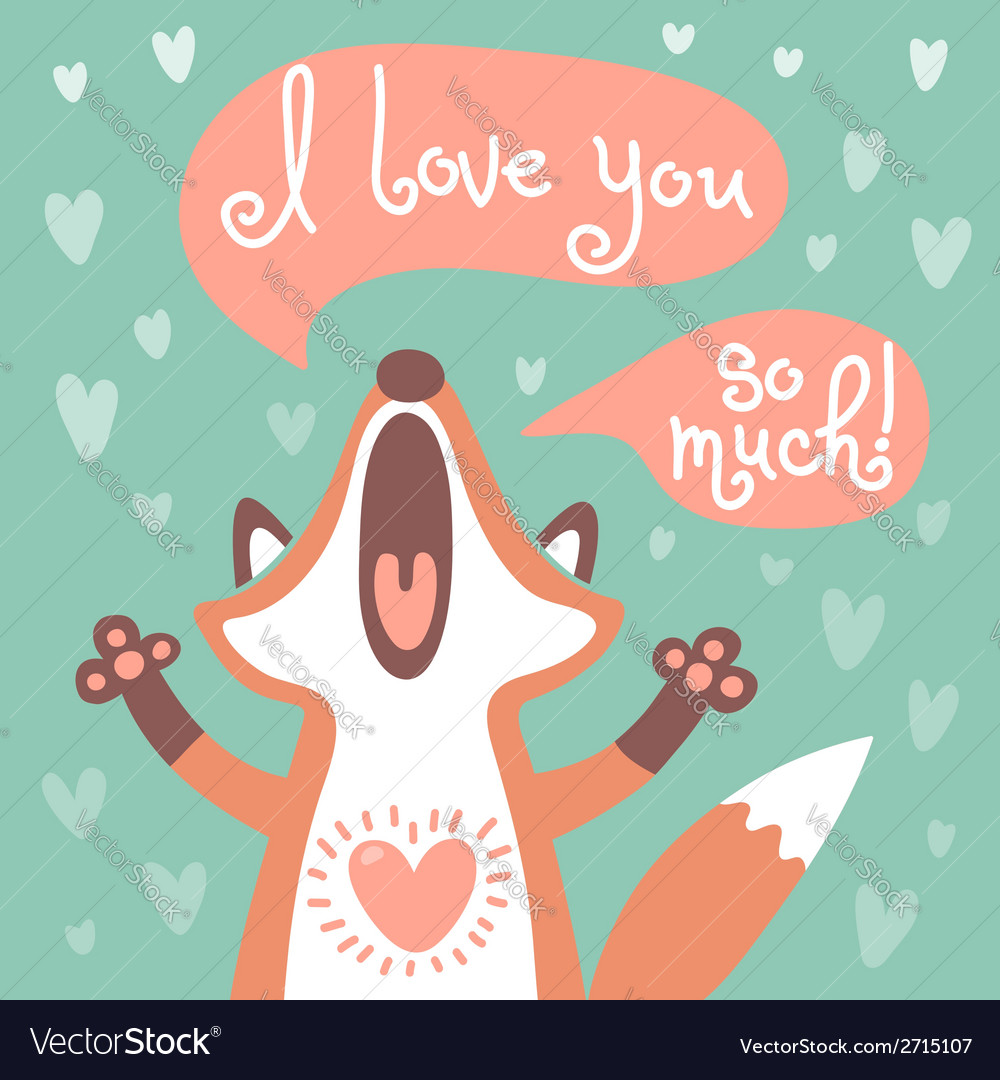 Cute fox confesses his love vector