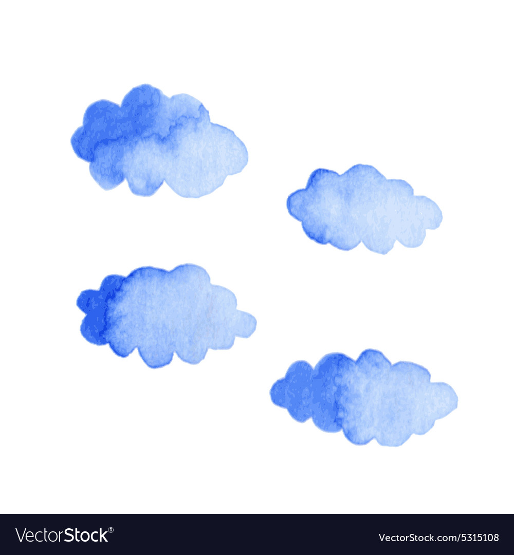 Watercolor clouds isolated on white background vector