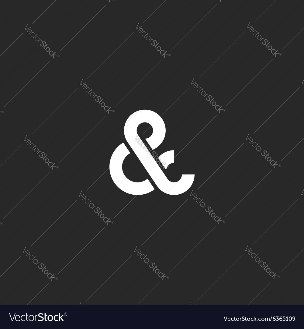 Ampersand logo monogram typography hipster black vector