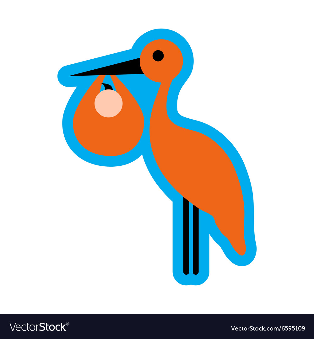 Flat icon with long shadow stork and newborn baby vector