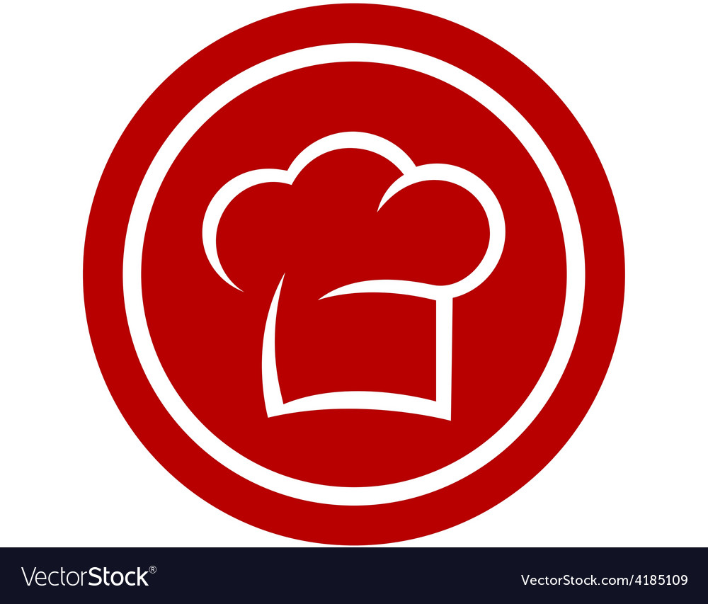 Round icon with chef hat vector