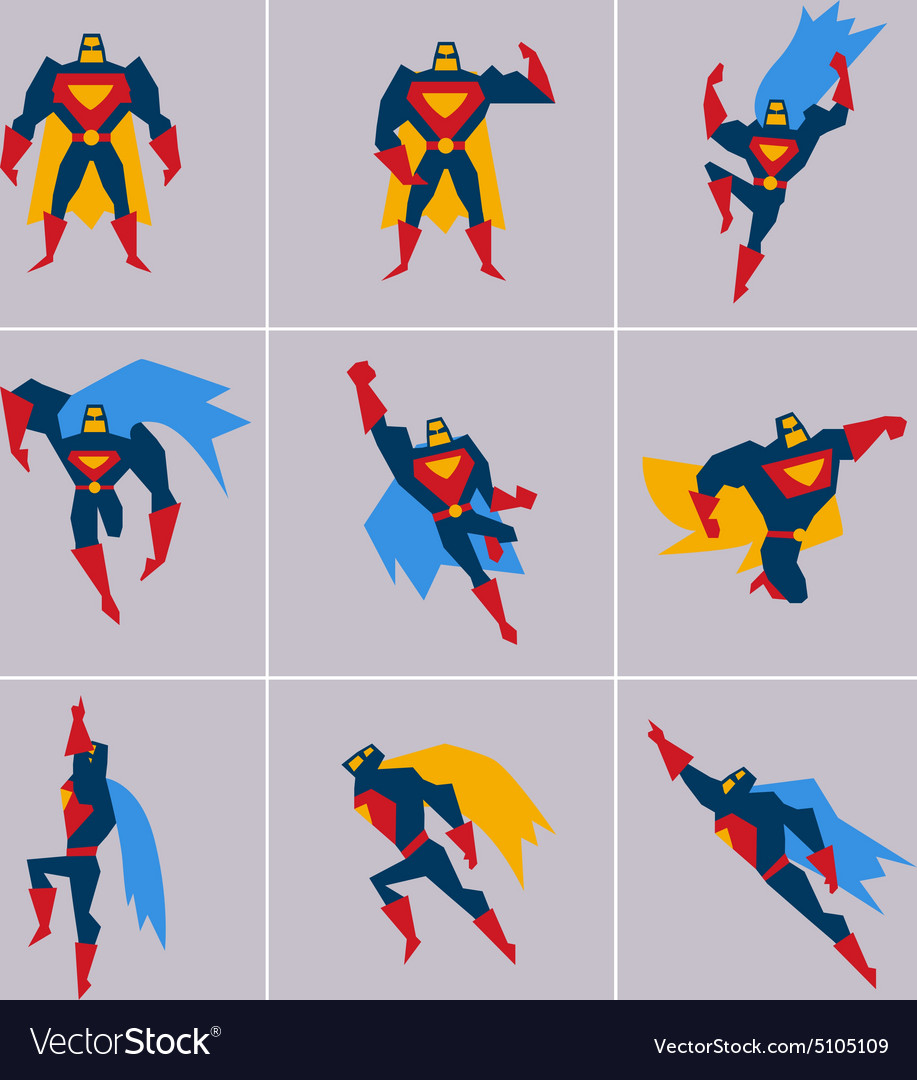 Superhero in action silhouette different poses vector