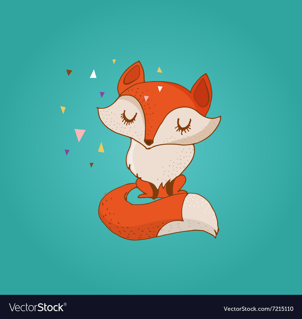 Fox cute lovely and greetin card vector