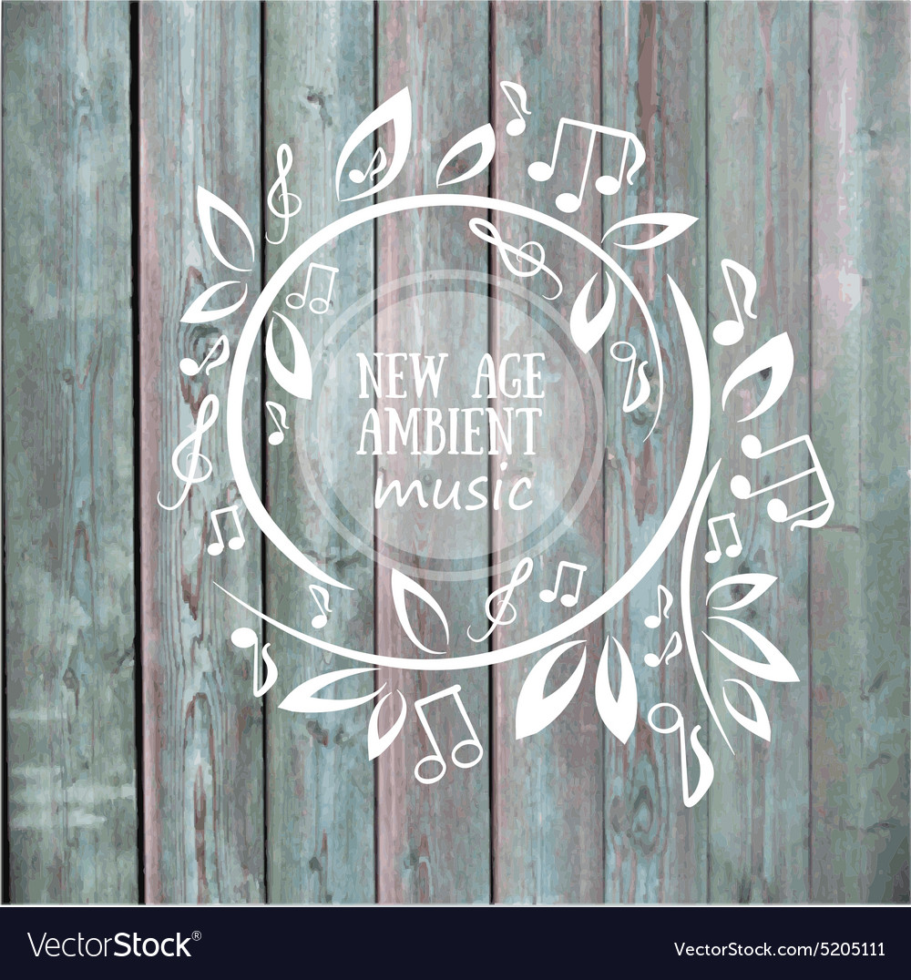 Frame with leaves and notes  music on the wood vector