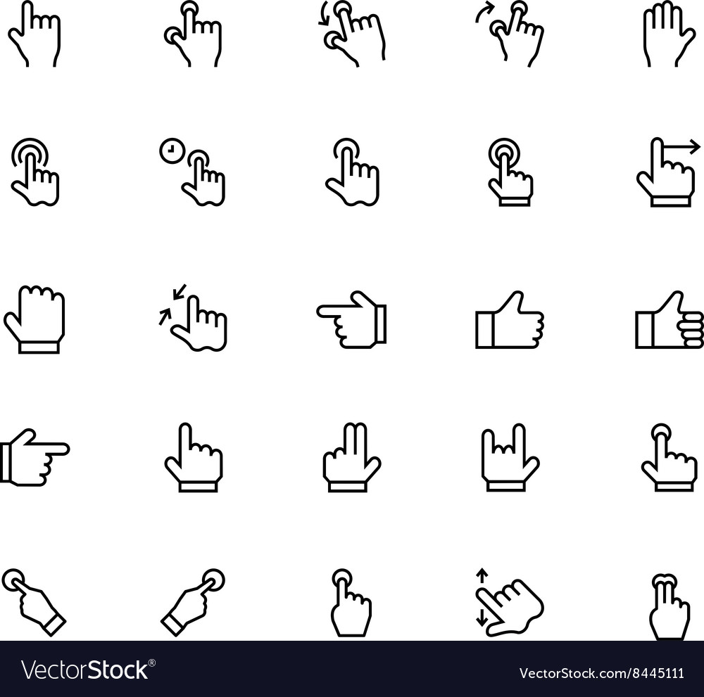 Hand gesture line icons 2 vector