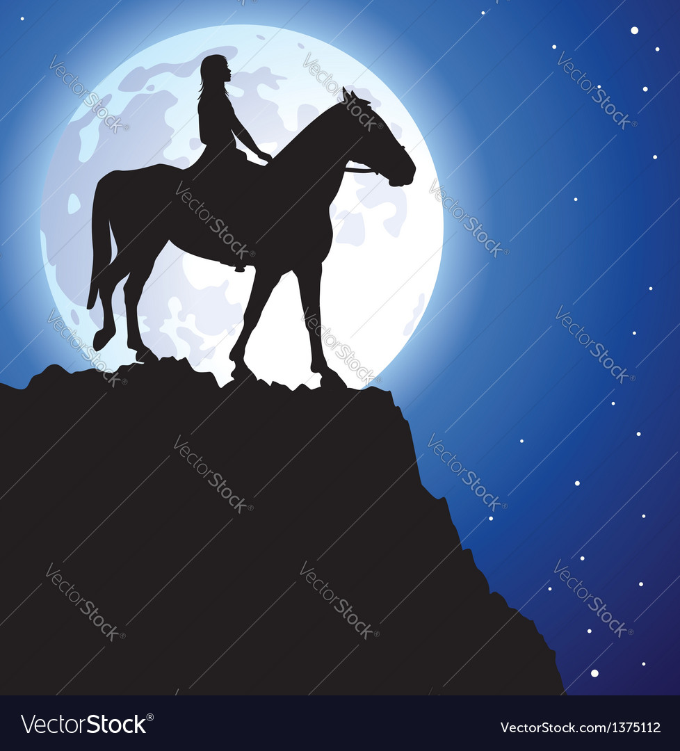 Girl on the horse vector