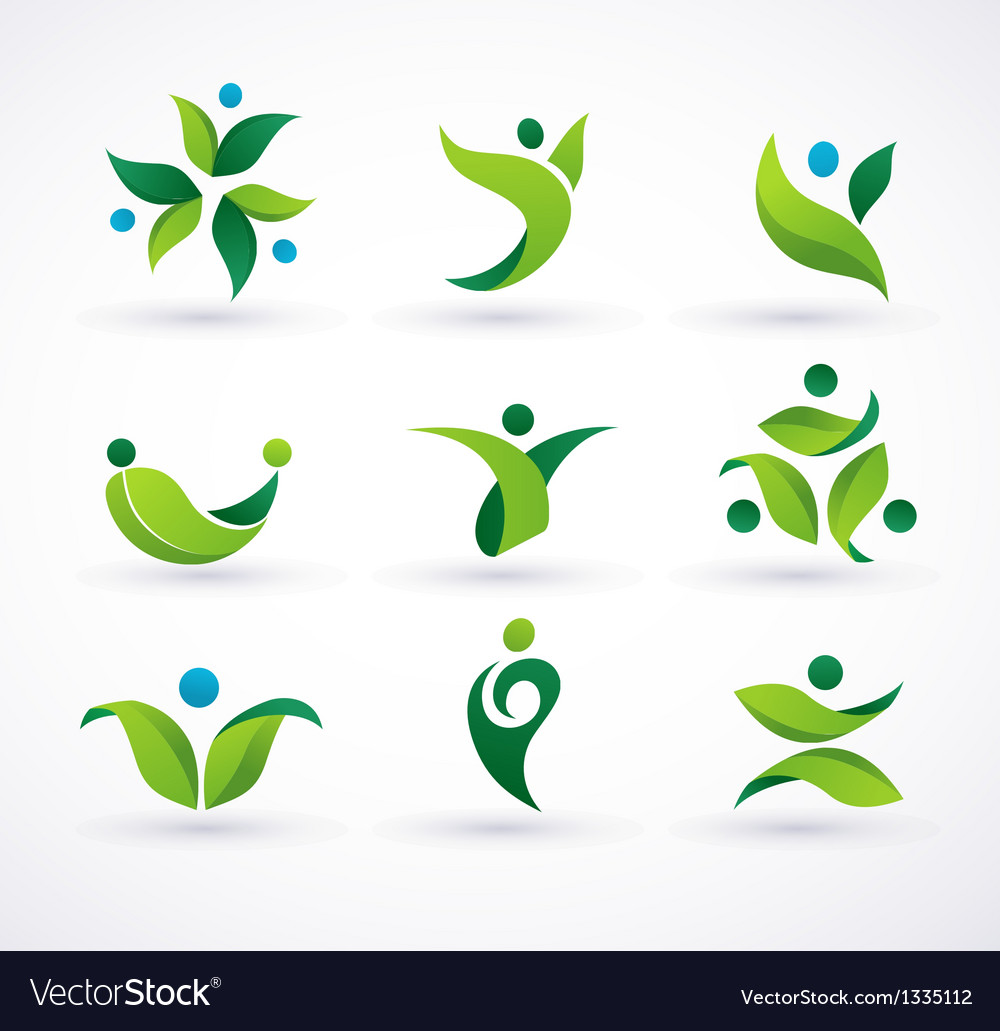 Green ecology people icons vector