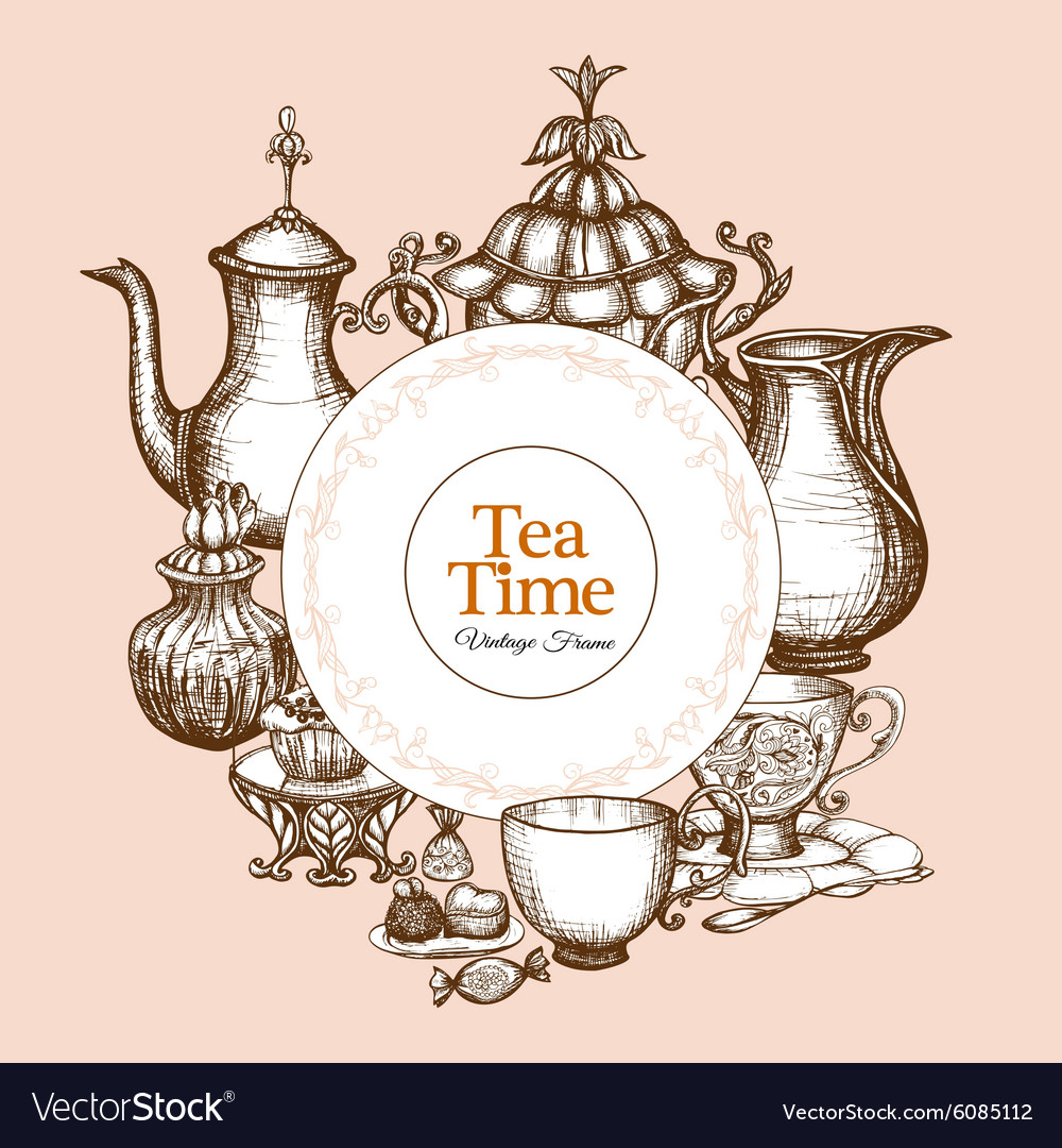 Vintage tea frame vector