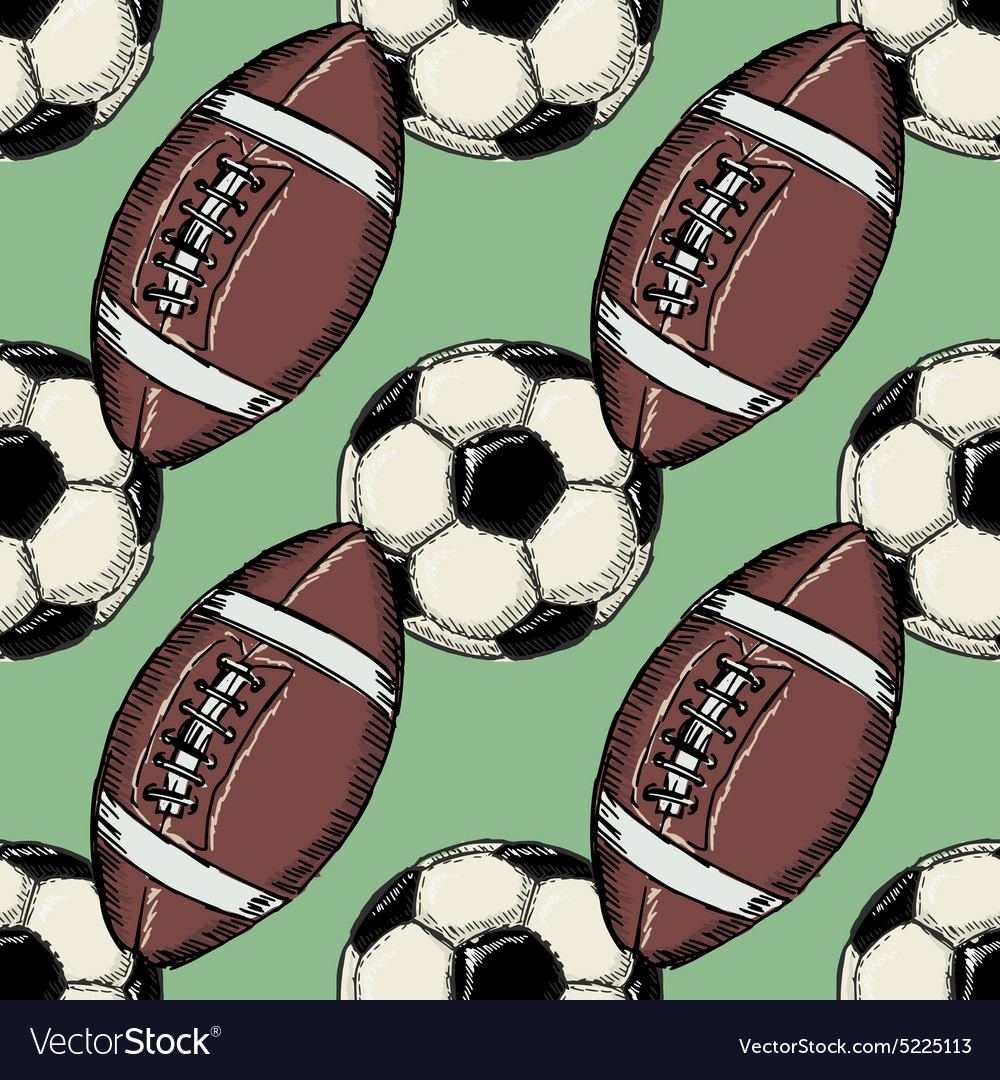 Seamless background with football balls vector