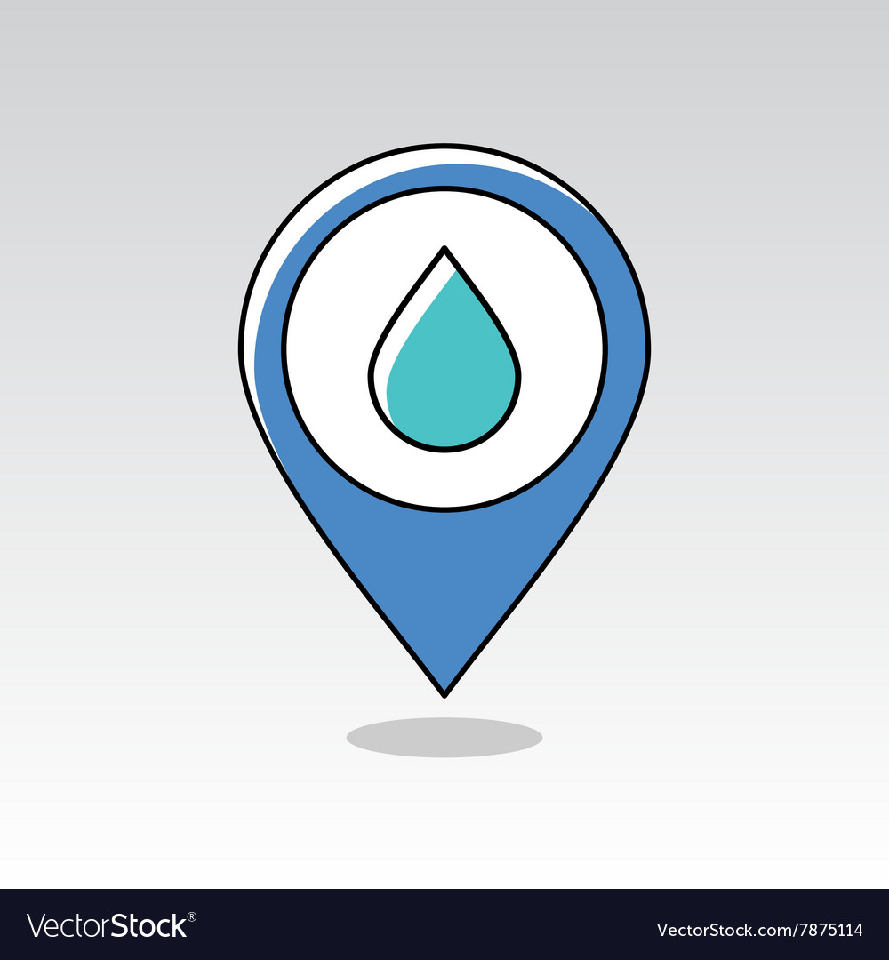 Water rain drop pin map icon meteorology weather vector