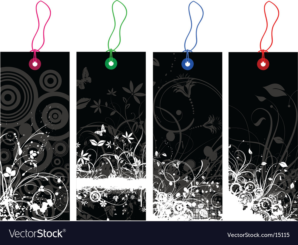 Floral grunge labels vector