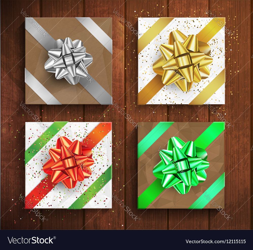 Set of gift boxes  christmas and birthday giftbox vector