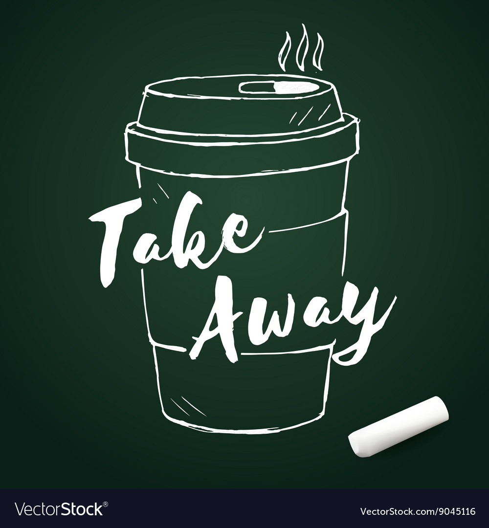 Doodle coffee cup with chalk hand drawn elements vector