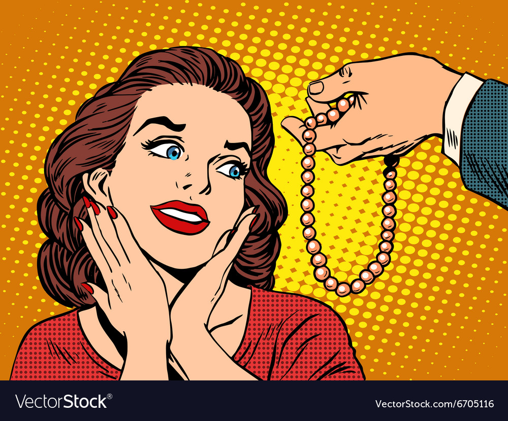 Gift woman jewelry beads vector