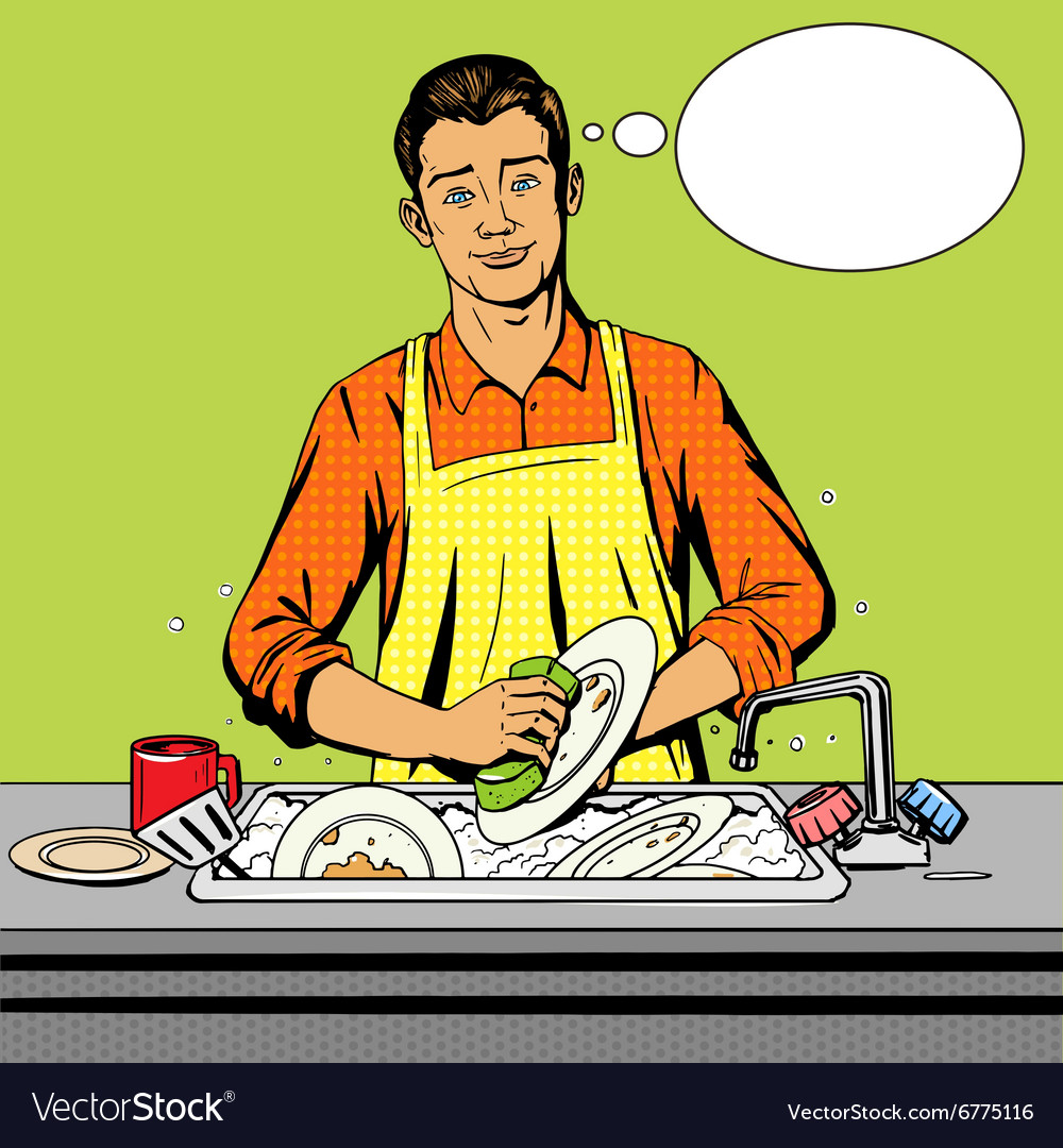Man washes dishes pop art style vector