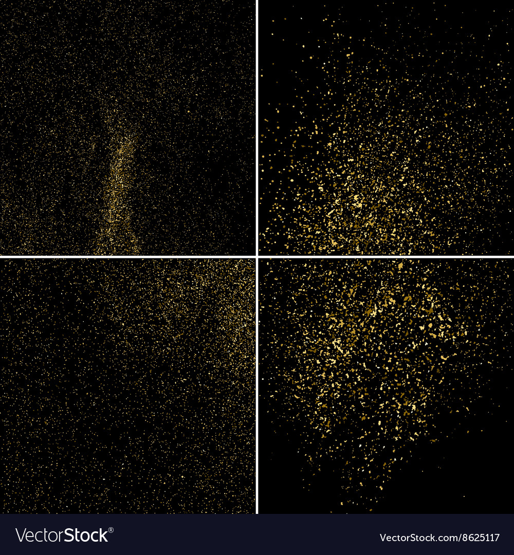 Gold glitter texture square set vector