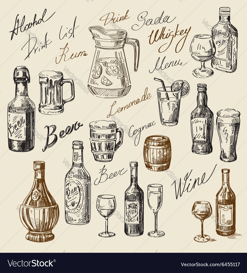 Hand drawn beverages sketch vector