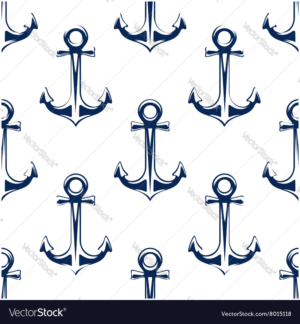 Retro nautical anchors seamless pattern vector