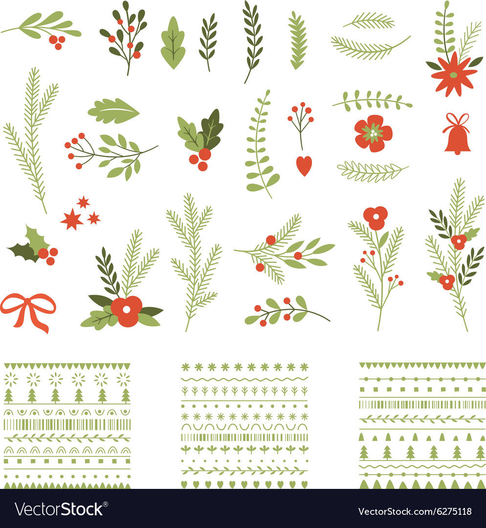 Set of christmas graphic elements and ornaments vector