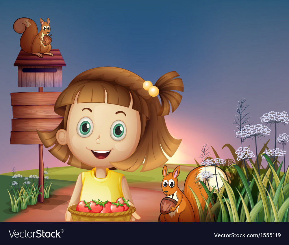 A girl holding a basket of berries near the empty vector