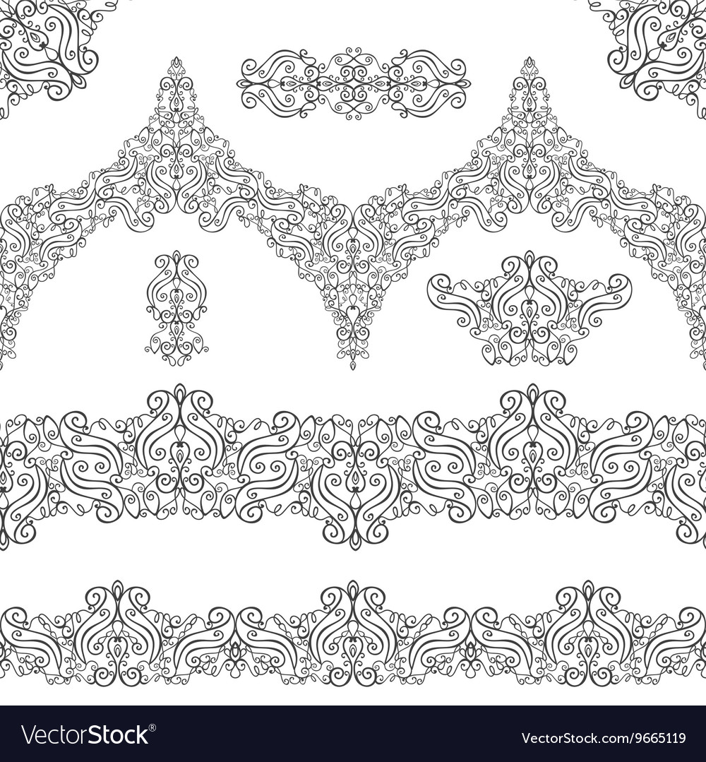 Ethnic seamless pattern borderselementsswirls vector