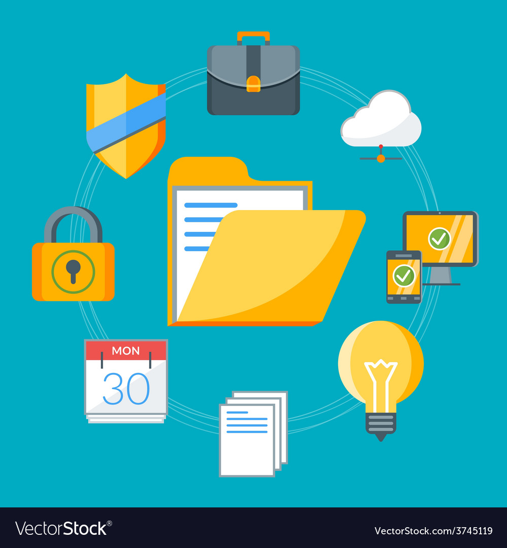 Flat design concept for business workflow items vector