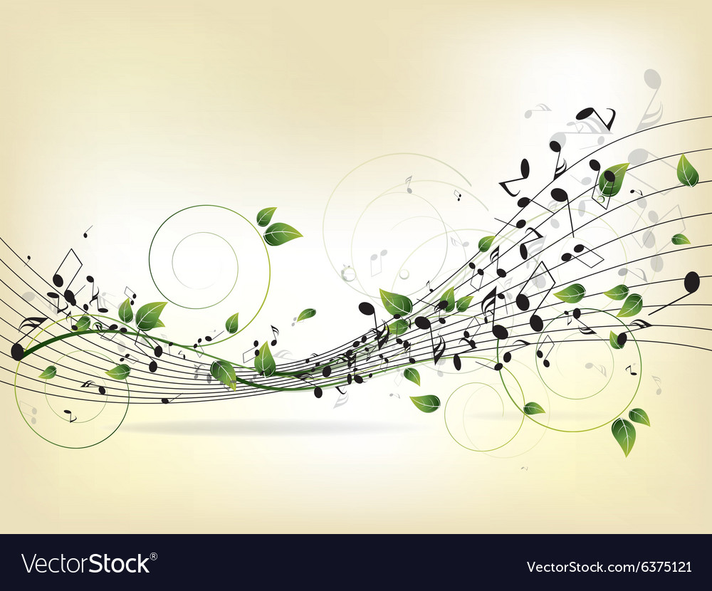 Floral musical background with notes vector