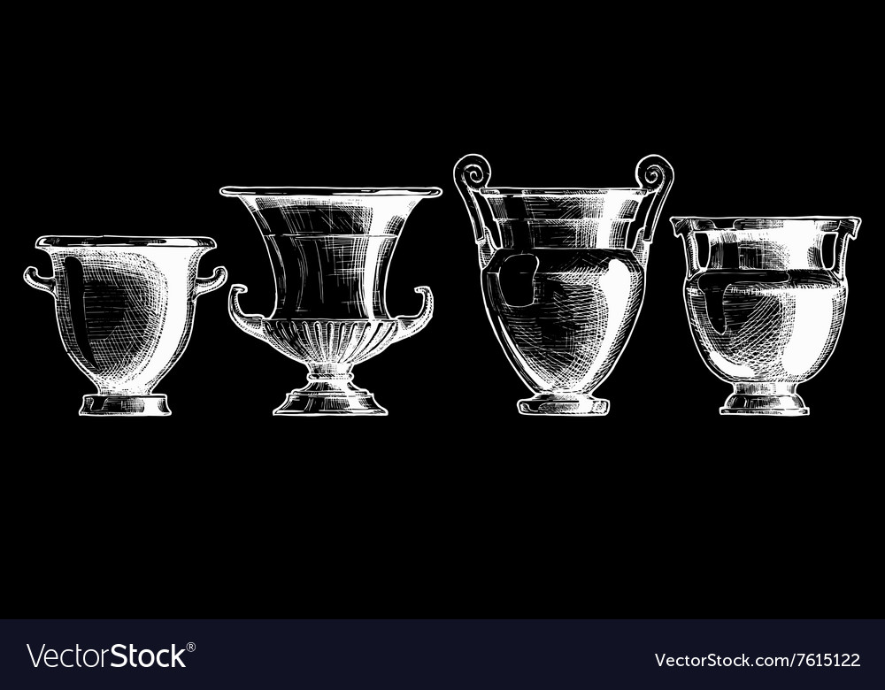 Greek vessel shapes vector