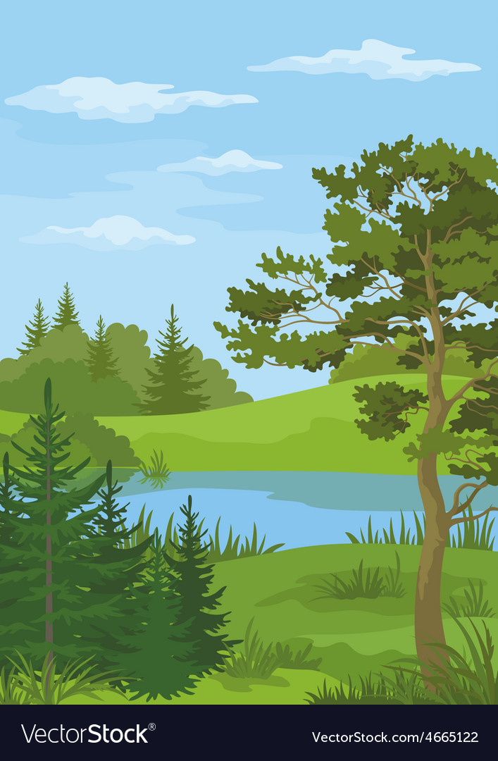Landscape with trees and river vector