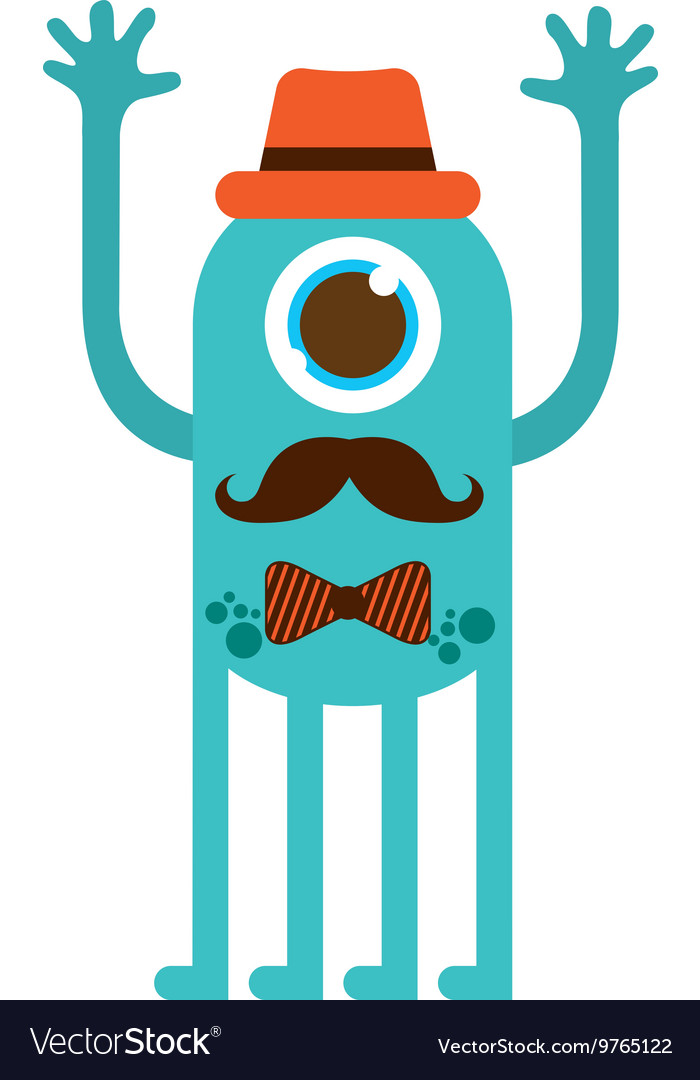 Monster cartoon hipster style isolated icon design vector