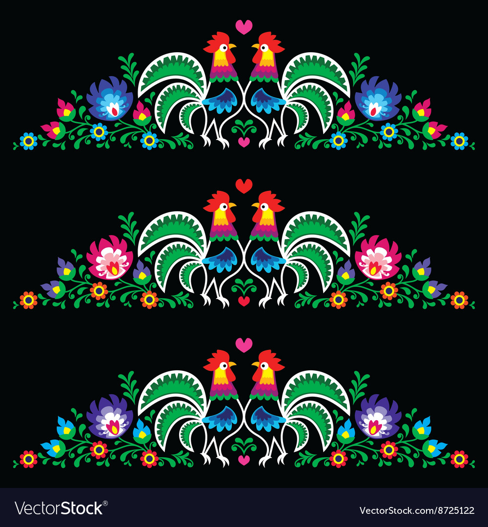 Polish folk art embroidery with roosters  traditi vector