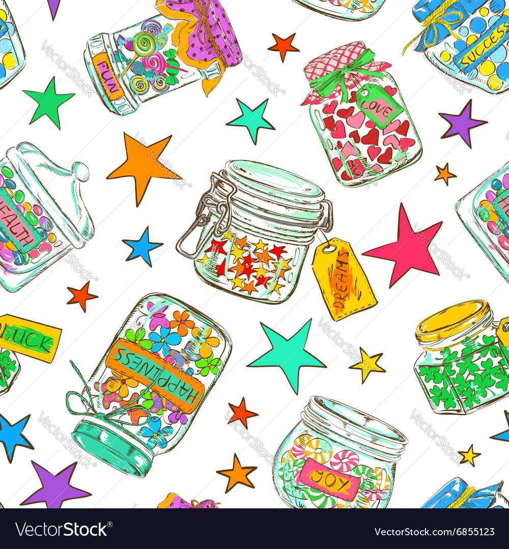 Seamless pattern of mason jars with greeting vector