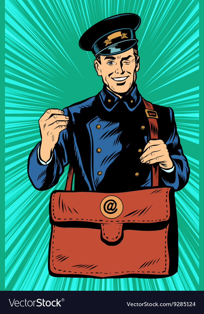 Friendly retro postman in blue uniform with bag vector