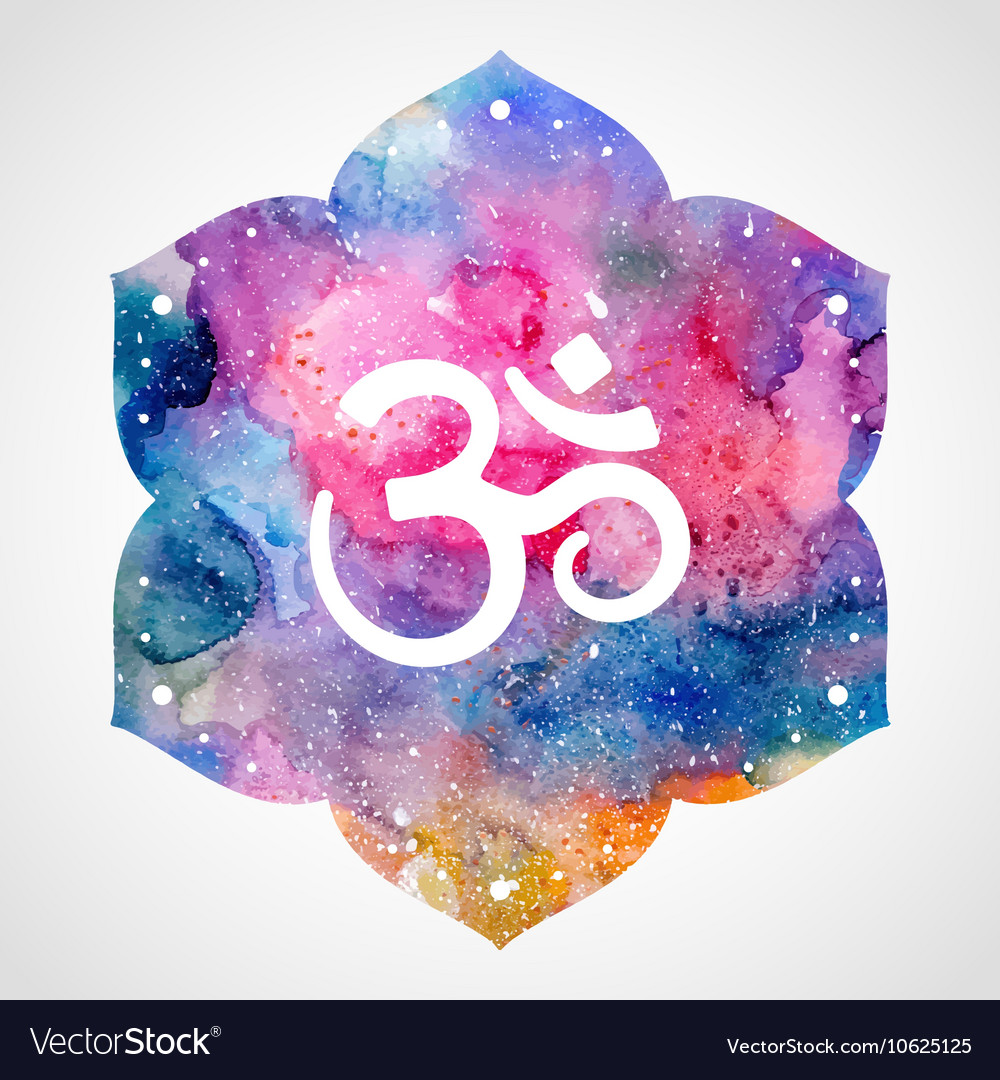 Om sign in lotus flower vector