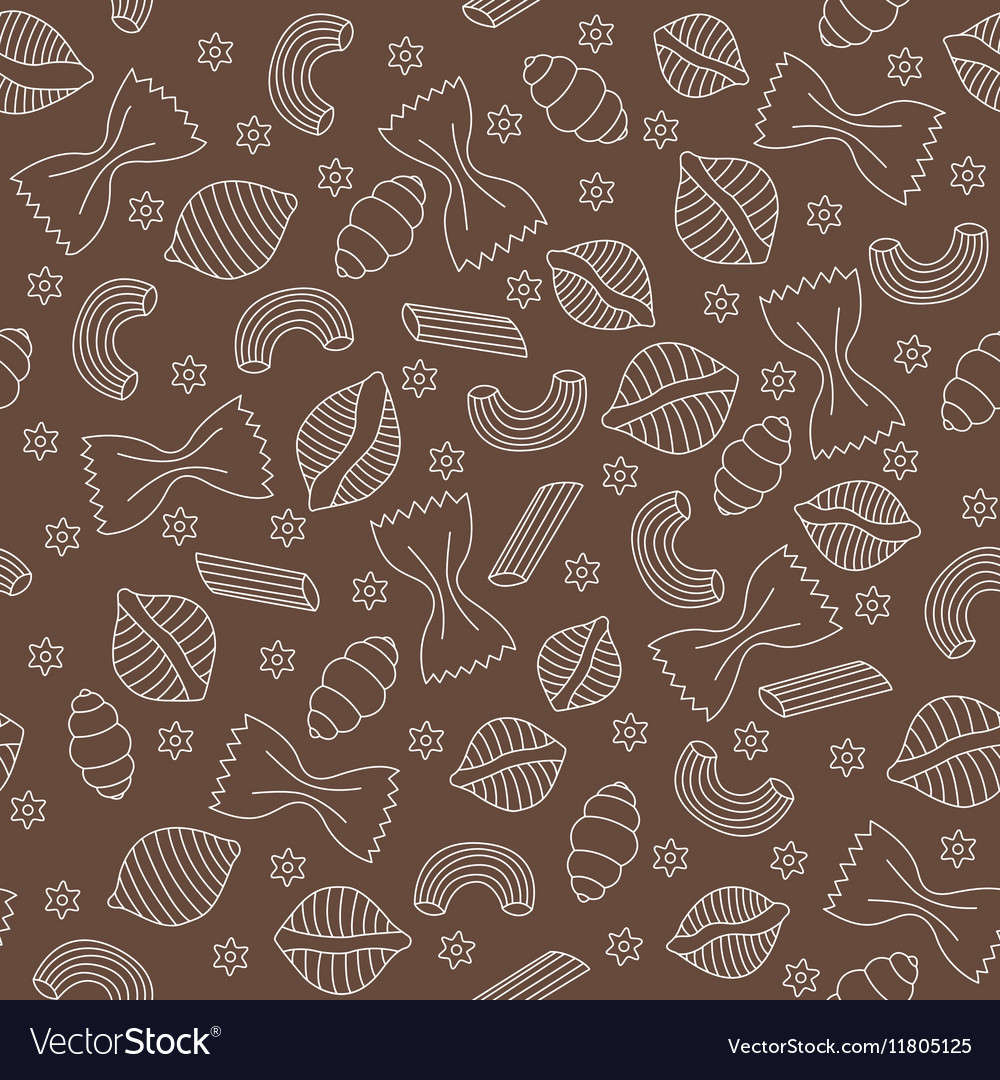 Pattern with different kinds of pasta vector