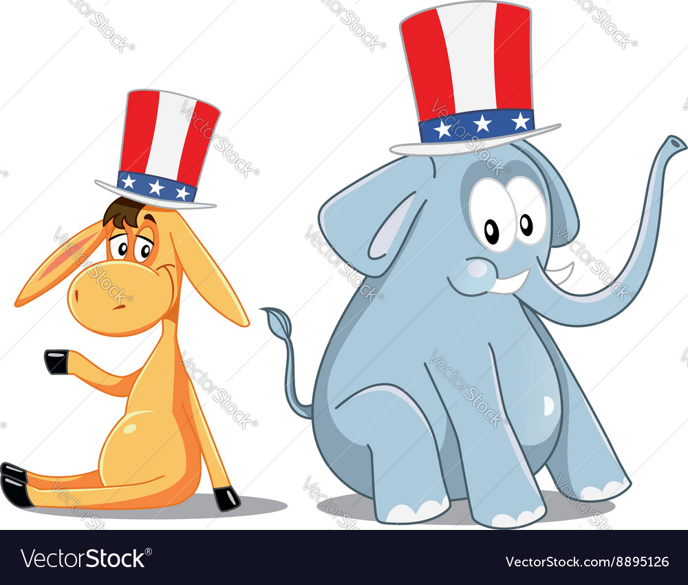 Democrat donkey and republican elephant election vector