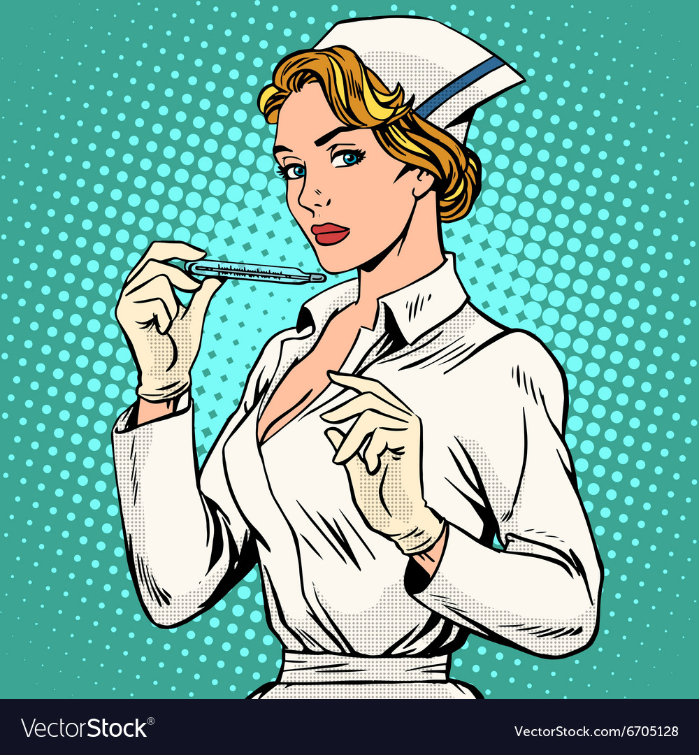 High temperature disease nurse thermometer vector